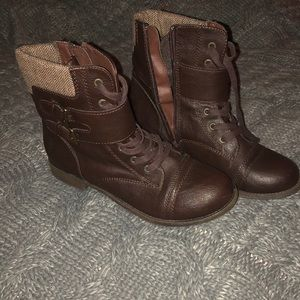 Brown leather rampage combat boots